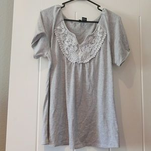 Jason Maxwell Medium Gray Tunic Lace Top M